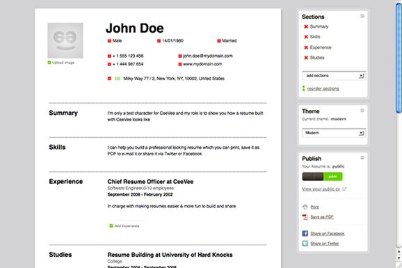 online resume cv sample resume