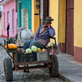 Street Cart Vendor by Terry Scussel - People Portraits of Men ( trinidad )