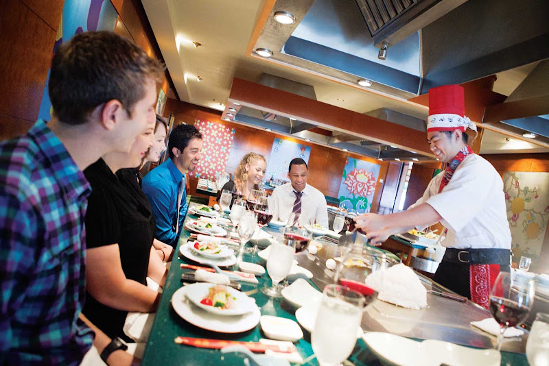 At the Teppanyaki Room aboard Norwegian Jewel, you'll be entertained by the chefs preparing authentic Japanese dishes.