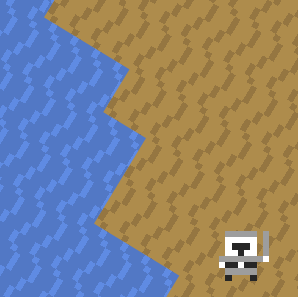 Screenshot showing water and sand pixel misalignment