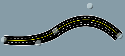 Road drawn using Bezier curves