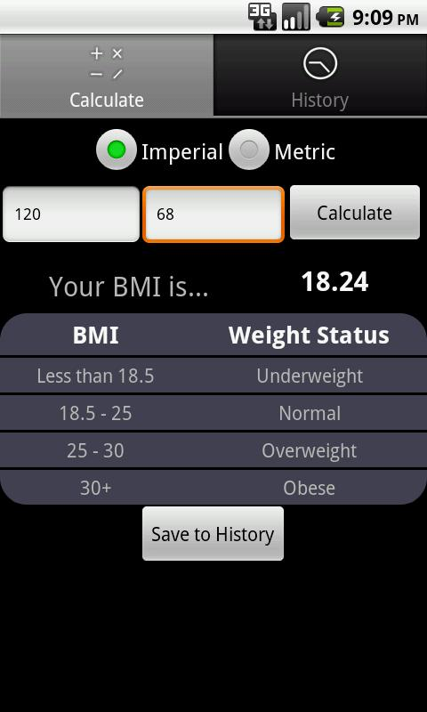 BMI FYI Calculator - screenshot