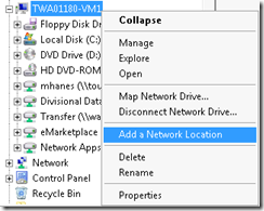 Add a Network Location in Windows Server 2008