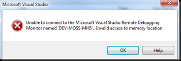 VS-invalid-access-memory