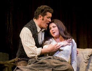 Piotr Beczala as Rodolfo and Anna Netrebko as Mimì in LA BOHÈME [Photo by Corey Weaver]