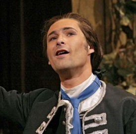 Christophe Dumaux as Unulfo in Händel's RODELINDA on the occasion of his Metropolitan Opera debut, 2 May 2006 [Photo by Ken Howard, Metropolitan Opera]