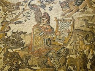 Orpheus charming wild beasts by playing his lyre, from an Imperial Roman mosaic