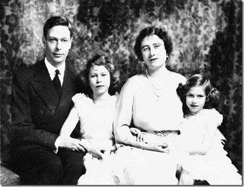 Britain's Queen Elizabeth is shown with her husband, King George VI, and their two daughters, Princess Elizabeth, center, and Princess Margaret, in 1937.  (AP Photo)