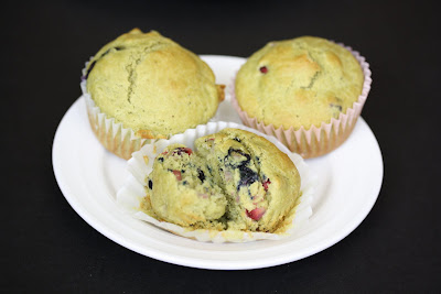 photo of matcha muffins on a plate
