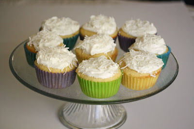 photo of coconut cupcakes on a cake stand