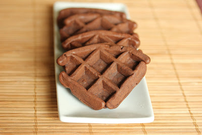 photo of chocolate waffle cakes on a plate