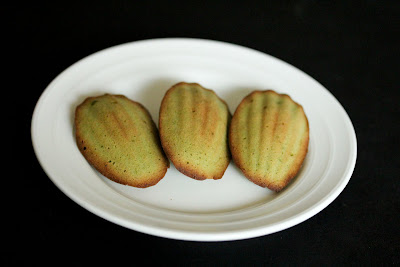 photo of three Matcha Madeleines on a plate