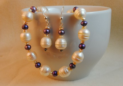 photo of Vanilla and Peacock Pearl Necklace and Earring Set
