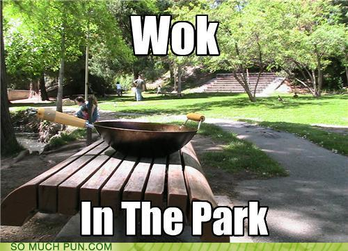 photo of a wok on a park bench...a wok in the park