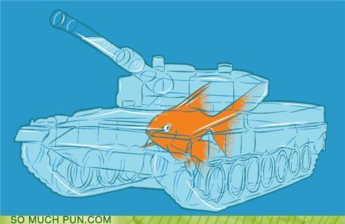 cartoon of a fish inside a military tank