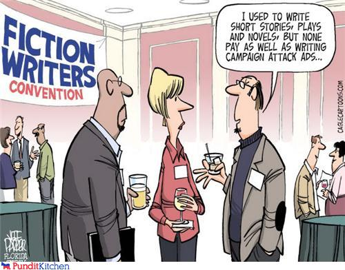 political cartoon of fiction writers writing political ads
