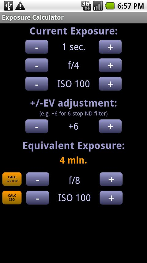 Exposure Calculator - screenshot