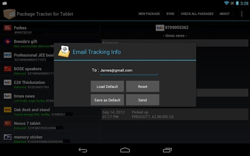 Package Tracker for Tablet - screenshot thumbnail