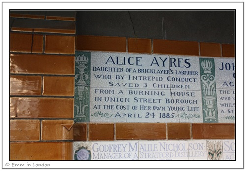 Alice Ayres plaque at the Heroes' Memorial