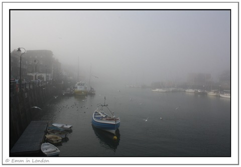 Whitby Harbour in Sea Fret
