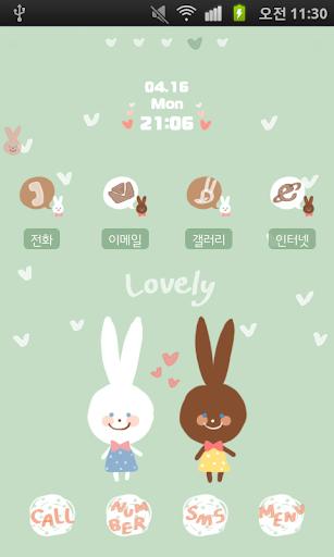 CUKI Theme Cute Rabbit Couple