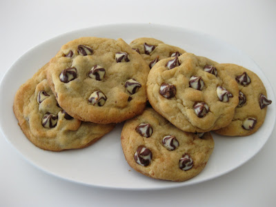 photo of a plate of Soft chocolate chip cookies