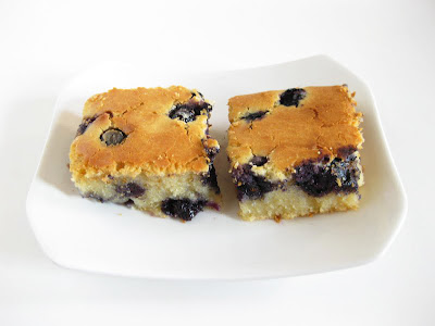 photo of two slices of blueberry mochi cake on a plate