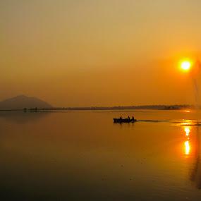 by Arkadeb Kar - Novices Only Landscapes ( dahl lake, boat., sunset,  )