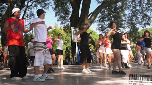 Porteños Dancing and Exercising at the Paseo Guardavidas Argentinos in Buenos Aires, Argentina
