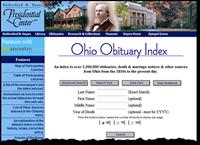 俄亥俄州obit索引在海耶中心网站上的索引搜索选项