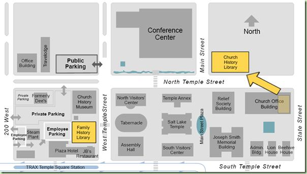 地图显示家庭历史图书馆与教会历史图书馆正在移动