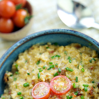 Savory, Steel-Cut Summer Porridge with Bacon, Sharp Cheddar, Fresh Tomatoes and Chives