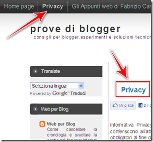 come mettere disclaimer privacy blogger