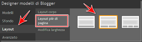 come modificare layout footer blogger