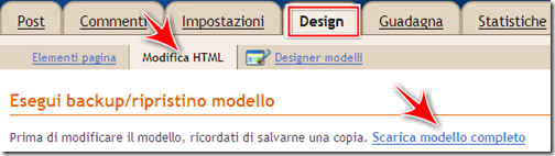 come salvare copia template backup blog blogger