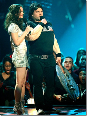 NEW YORK - SEPTEMBER 13:  Leighton Meester (L) and Jack Black perform at the 2009 MTV Video Music Awards at Radio City Music Hall on September 13, 2009 in New York City.  (Photo by Christopher Polk/Getty Images) *** Local Caption *** Leighton Meester;Jack Black