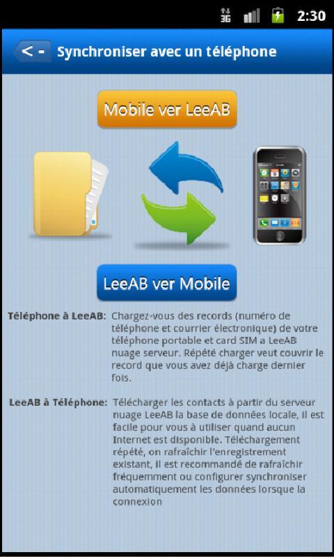 LeeAB carnets d'adresses - screenshot