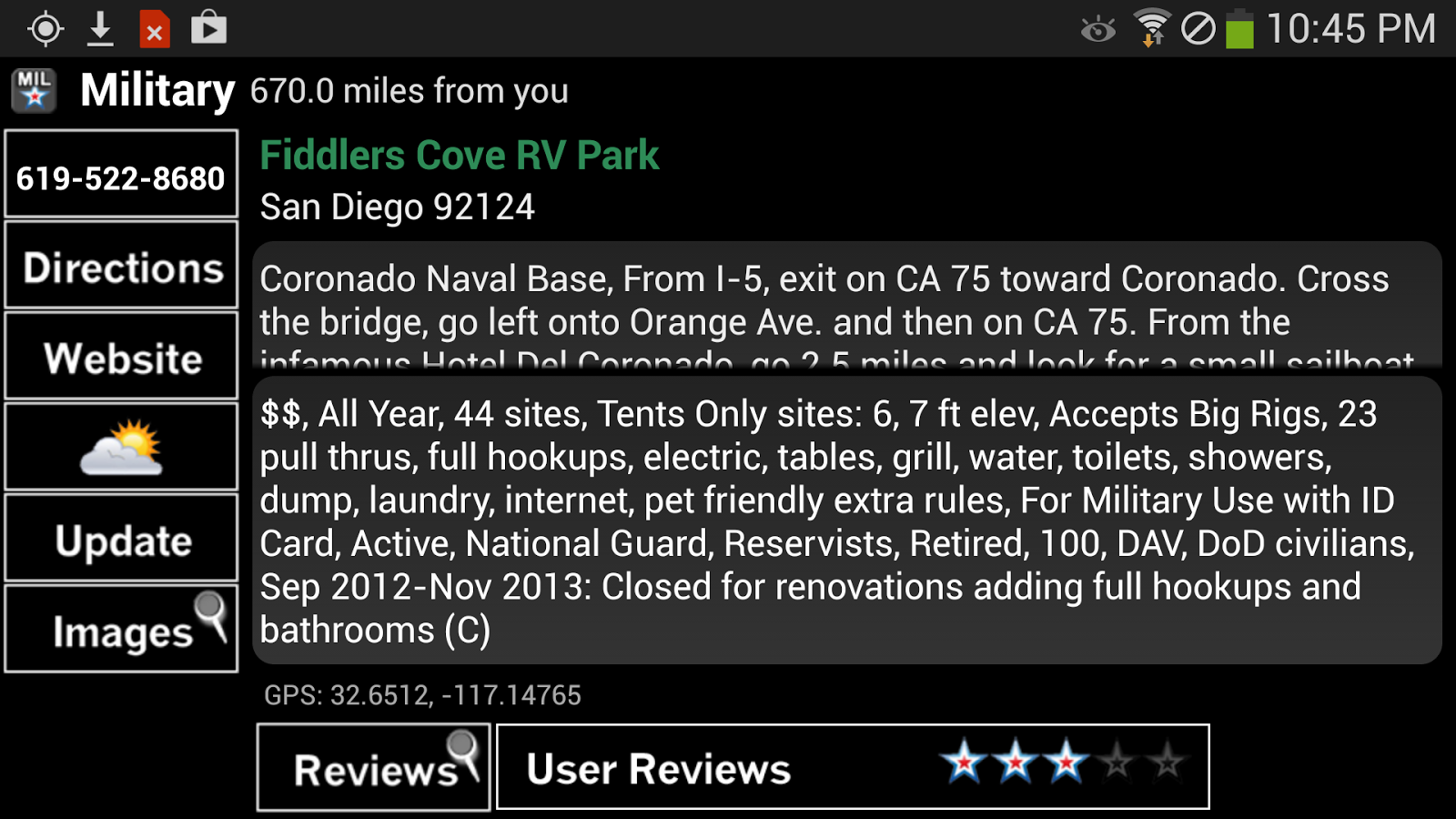 Military Campgrounds RV Parks - screenshot