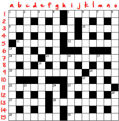 15x15 Crossword Grid, Numbered