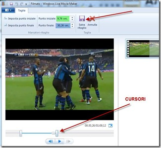 strumento taglia di windows live movie maker