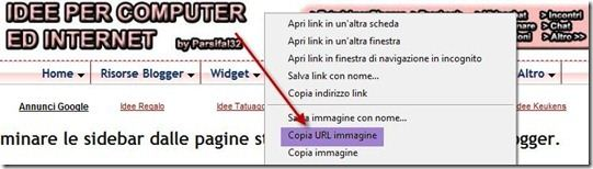 copia url immagine header blogger