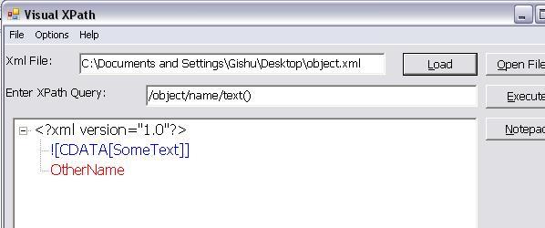 How do I retrieve element text inside CDATA markup via XPath