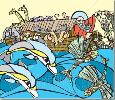 44881-Royalty-Free-RF-Clipart-Illustration-Of-A-Man-And-Pairs-Of-Animals-Crowded-On-Noahs-Ark