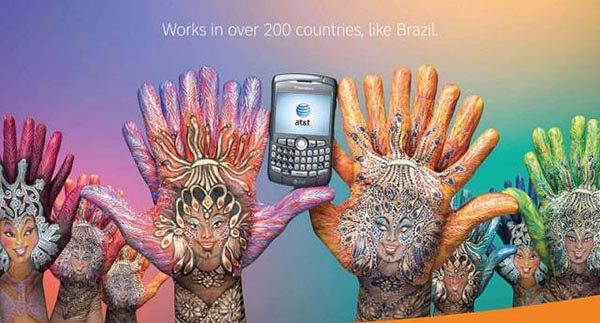 23 creative ads by AT&T [hand-modelling advertisements] - Brazillian carnival women