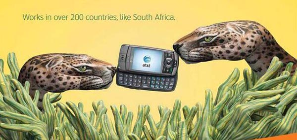 23 creative ads by AT&T [hand-modelling advertisements] - Leopard, cheetah, South Africa