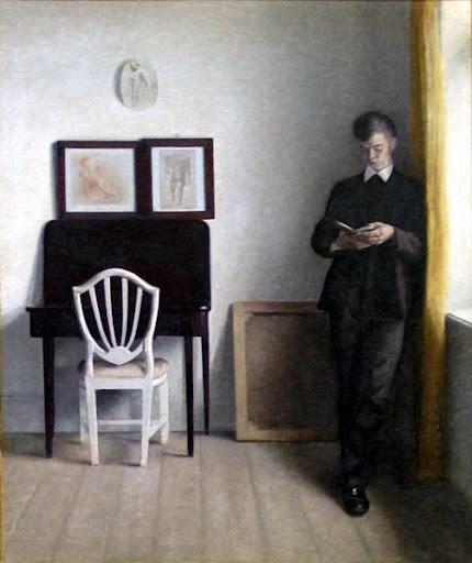 Vilhelm Hammershøi (1864-1916) Interiør Med læsende Ung Mand, 1898