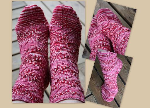 kärjestä neulottu sukka kantapää