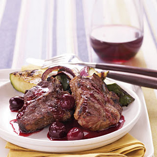 Grilled Lamb Chops with Cherry Port Sauce.
