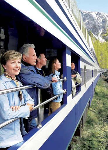 Wilderness-Rail-Observation-Platform - Many Princess Cruises guests extend their stay in Alaska and take in the scenic landscapes on the observation platform of their glass-domed rail car.