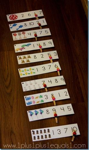 Preschool Math Printables Clothespin Clip Cards 1 10